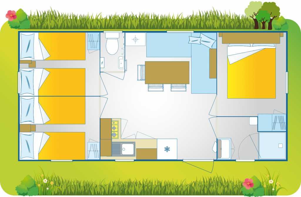 Plantegning af Happy Camp Mobilhome Premium Suite